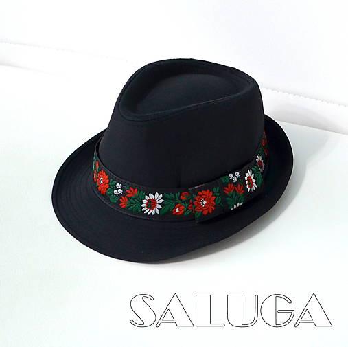 Folklórny klobúk - čierny - ľudový - čierna stuha