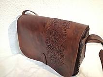 Kabelky - kožená kabelka hnedá srdce - 9895773_