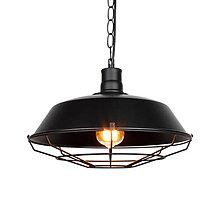 Svietidlá a sviečky - Vintage visiace svietidlo v čiernej farbe, 26 cm - 9894982_