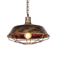 Svietidlá a sviečky - Vintage visiace svietidlo v zlato starej farbe, 26 cm - 9894999_