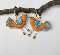Náušnice - Keramické náušnice - vtáčiky - 9894967_