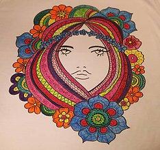 Tričká - Ručne maľované tričko Floralínka veľkosť M - 9892245_