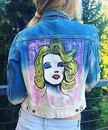 Kabáty - maľovaná riflová bunda Marilyn Monroe - 9892807_
