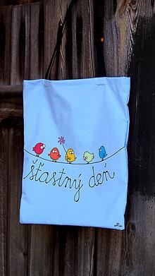 Nákupné tašky - Plátená taška ručne maľovaná- vrabčiaci - 9894913_