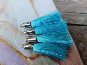 Polotovary - Strapce hodvábne - pár (Modrá) - 9894292_