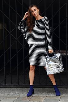 Šaty - Úpletové šaty strieborný pásik - 9896177_
