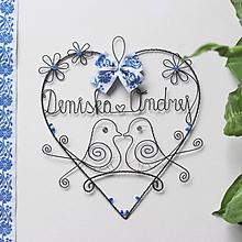 Dekorácie - mladomanželom - svadobné srdce ❤ 20cm     (folk-bielo-modra) - 9897127_
