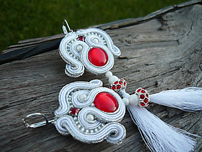 Náušnice - Soutache náušnice Luxury White s červenou - 9898871_