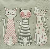 - S1264 - Servítky - tri, mačky, mačiatka, bodka, prúžok, cik cak - 9897065_