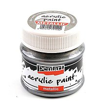Farby-laky - Akrylová farba 50 ml, Pentart - metalická (strieborný dotyk) - 9896715_