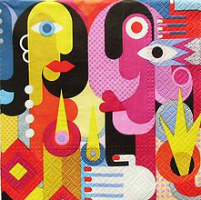 Papier - S1261 - Servítky - a la Picasso, kubizmus, muž, žena, srdce, obraz - 9897025_