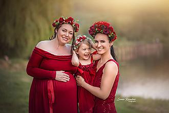 Ozdoby do vlasov - Červeno-čierna kvetinová čelenka z kolekcie pre Lydiu Eckhardt - 9898592_