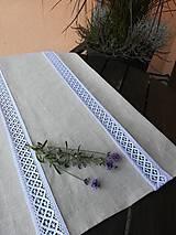 Úžitkový textil - Ľanová štóla, obrus s krajkou - 9898204_