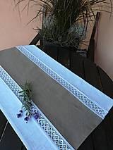 Úžitkový textil - Ľanová štóla, obrus s krajkou - 9898279_