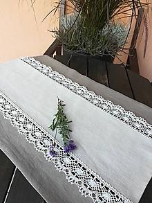 Úžitkový textil - Ľanová štóla, obrus s krajkou - 9898383_