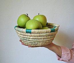 Košíky - Pletená miska - Green life - 9896566_
