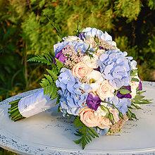 Kytice pre nevestu - Svadobná kytica z modrých hortenzií - 9897729_