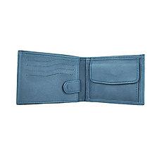 Tašky - Pánska peňaženka z pravej kože v tmavo modrej farbe - 9897921_