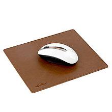 Pomôcky - Kožená podložka pod myš AMIRA - biela (hnedá) - 9896090_