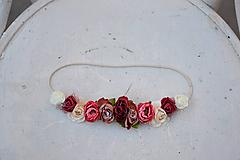 Ozdoby do vlasov - Elastická čelenka s kvetinami - 9897619_
