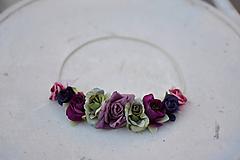 Ozdoby do vlasov - Elastická čelenka s kvetinami - 9897751_