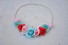 Ozdoby do vlasov - Elastická čelenka s kvetinami - 9897815_