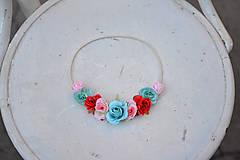 Ozdoby do vlasov - Elastická čelenka s kvetinami - 9897816_