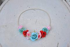 Ozdoby do vlasov - Elastická čelenka s kvetinami - 9897817_