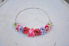 Ozdoby do vlasov - Elastická čelenka s kvetinami - 9897844_
