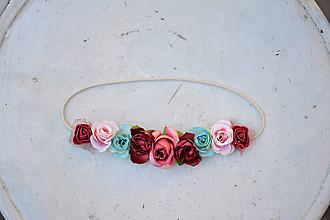 Ozdoby do vlasov - Elastická čelenka s kvetinami - 9896850_