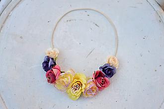 Ozdoby do vlasov - Elastická čelenka s kvetinami - 9896860_