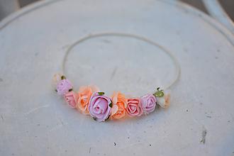 Ozdoby do vlasov - Elastická čelenka s kvetinami - 9896869_