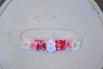 Ozdoby do vlasov - Elastická čelenka s kvetinami - 9896879_