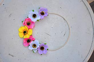 Ozdoby do vlasov - Elastická čelenka s kvetinami - 9897596_