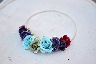 Ozdoby do vlasov - Elastická čelenka s kvetinami - 9897610_