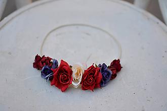 Ozdoby do vlasov - Elastická čelenka s kvetinami - 9897722_