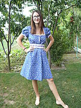 Šaty - Modré folklórne šaty-Marína - 9897119_