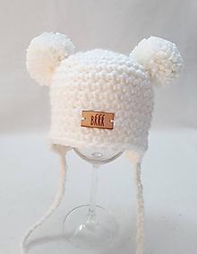 Detské čiapky - Biela zimná detská čiapka ušianka macko - 9896489_