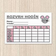 Papiernictvo - Minimalistické rozvrhy hodín (myška) - 9898671_