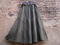 Sukne - Maxi lněná sukně - khaki - 9900657_