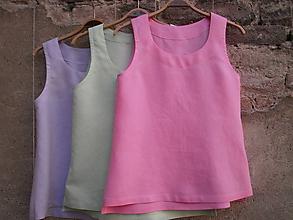 Topy - Lněný růžový top - 9900604_