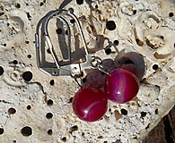 Náušnice - pink agata brincos - 9901779_