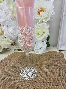 Nádoby - Svadobné poháre Šampus White Elegant (Modrá) - 9900416_