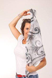 Šatky - Černobílý / hedvábný šátek 75 x 75 cm/ - 9899171_
