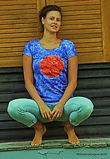 Tričká - Dámske tričko batikované, maľované  BRIEŽDENIE - 9900668_