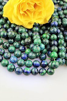 Minerály - fenix korálky 10mm (lapis lazuli s malachitom) - 9901478_