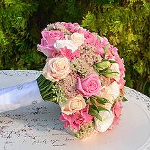 Kytice pre nevestu - Svadobná kytica z ružových hortenzií - 9900352_