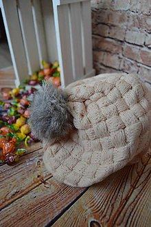 Detské čiapky - Dievčenská baretková čiapka béžová - 9901855_
