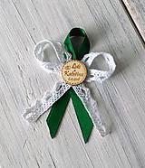 Svadobné pierko - Kruh gravír  (zelená)