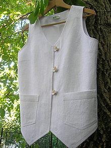 Iné oblečenie - Ľanová vestička biela - 9899243_